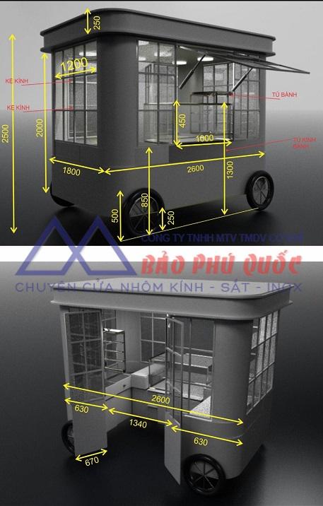 Hình ảnh phác thảo dự án, dựng khung sắt, bọc nhôm kính cho xe bán bánh